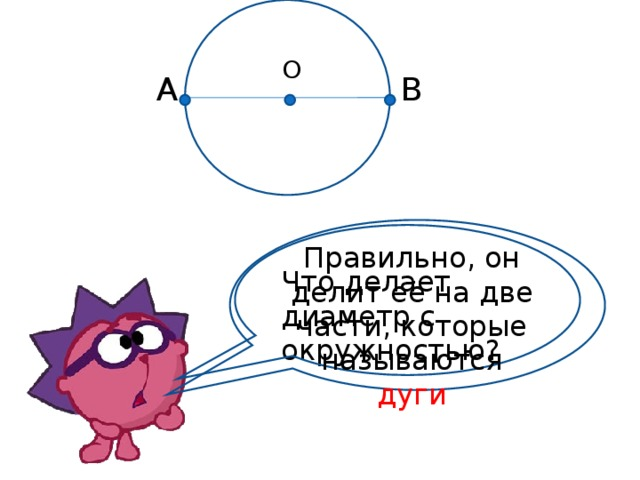 О А В Правильно, он делит её на две части, которые называются дуги Что делает диаметр с окружностью?