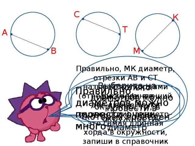 С К Т А В М Правильно, МК диаметр, отрезки АВ и СТ называются хордами (отрезок соединяющий две любые точки окружности), диаметр– это самая длинная хорда в окружности, запиши в справочник Выберите на рисунке, те окружности, в которых проведен диаметр Сколько диаметров можно провести в окружности? Правильно, диаметров можно провести очень много!