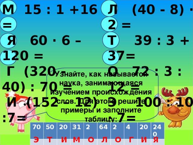 Л (40 - 8) · 2 = Т 39 : 3 + 37= О 72 : 3 : 12 = Э 100 : 10 · 7= М 15 : 1 +16 =  Я 60 · 6 – 120 =  Г (320 - 40) : 70 =  И (152 – 12) :7= Узнайте, как называется наука, занимающаяся изучением происхождения слов. Для этого решите примеры и заполните таблицу: 70 50 20 31 2 64 2 4 20 240 М Я Г Л Т И О О И Э