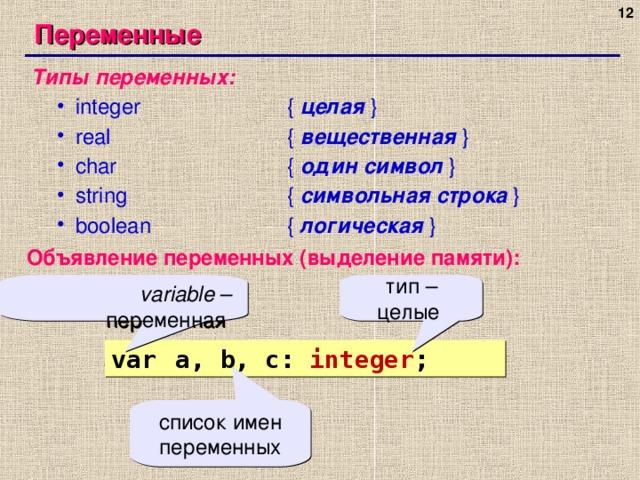 Переменные Типы переменных: integer    { целая  } real    { вещественная  } char    { один символ  } string    { символьная строка  } boolean    {  логическая  } integer    { целая  } real    { вещественная  } char    { один символ  } string    { символьная строка  } boolean    {  логическая  } Объявление переменных ( выделение памяти ) : variable – переменная тип – целые var  a, b, c: integer ; список имен переменных