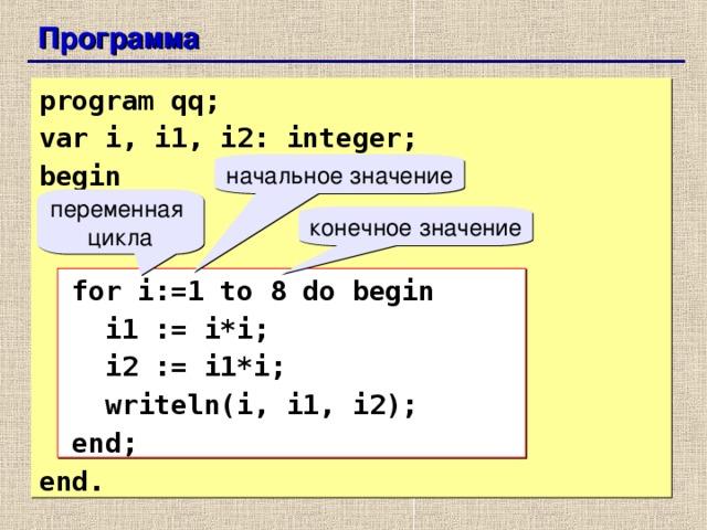 Программа  program qq; var i, i1, i2: integer; begin    for i:=1 to 8 do begin  i1 := i*i;  i2 := i1*i;  writeln(i, i1, i2);  end; end. начальное значение переменная цикла конечное значение