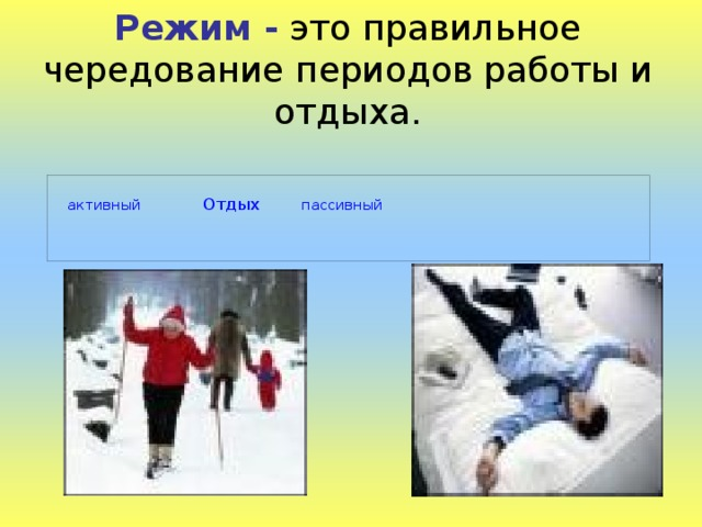 Режим - это правильное чередование периодов работы и отдыха.  активный  Отдых  пассивный