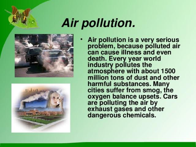 Air pollution .