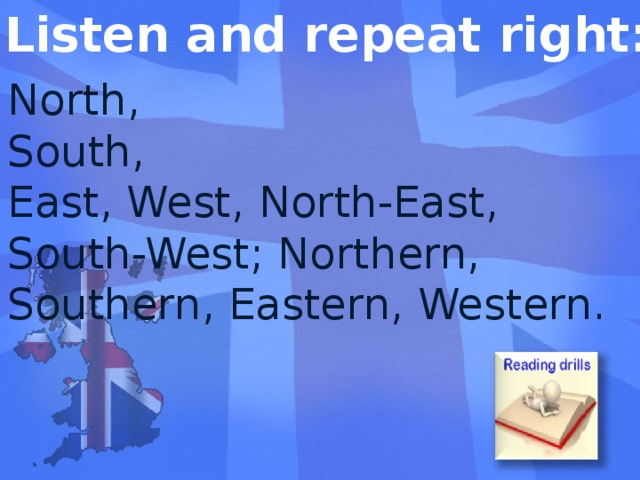 Listen and repeat right: North, South, East, West, North-East, South-West; Northern, Southern, Eastern, Western.