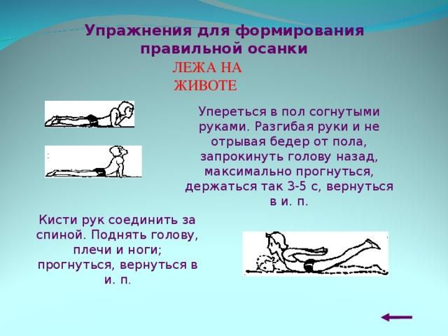Упражнения для формирования правильной осанки ЛЕЖА НА ЖИВОТЕ  Упереться в пол согнутыми руками. Разгибая руки и не отрывая бедер от пола, запрокинуть голову назад, максимально прогнуться, держаться так 3-5 с, вернуться в и. п. Кисти рук соединить за спиной. Поднять голову, плечи и ноги; прогнуться, вернуться в и. п .