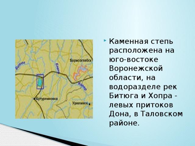 Каменная степь расположена на юго-востоке Воронежской области, на водоразделе рек Битюга и Хопра - левых притоков Дона, в Таловском районе.