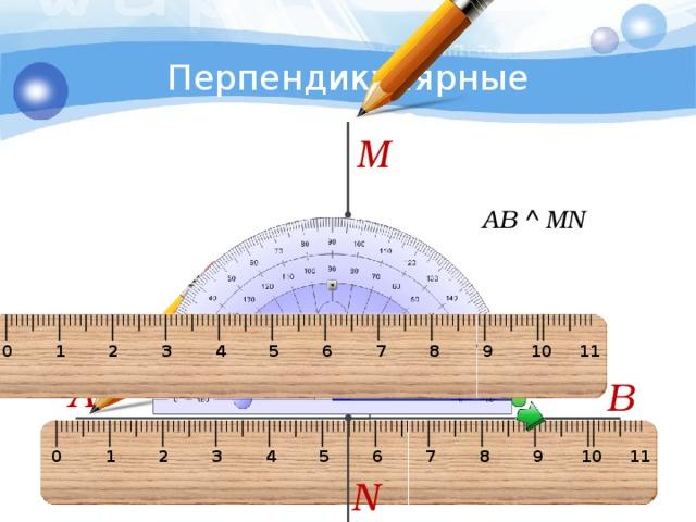 5 Перпендикулярные прямые M АВ  MN 0 1 2 3 4 5 6 7 8 9 10 11 А В 0 1 2 3 4 5 6 7 8 9 10 11 N