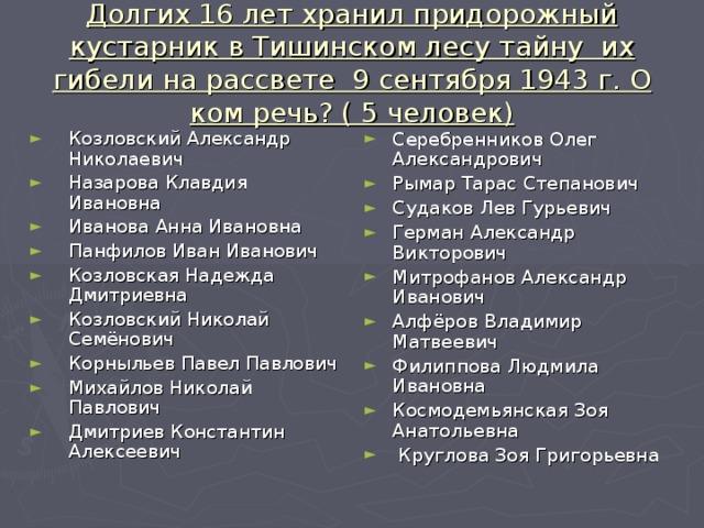 Долгих 16 лет хранил придорожный кустарник в Тишинском лесу тайну их гибели на рассвете 9 сентября 1943 г. О ком речь? ( 5 человек)