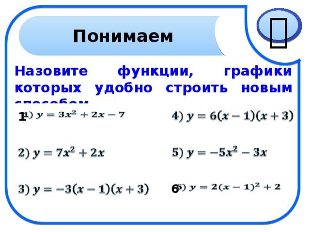  Понимаем Назовите функции, графики которых удобно строить новым способом.   1     6   6