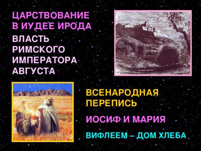 ЦАРСТВОВАНИЕ В ИУДЕЕ ИРОДА ВЛАСТЬ РИМСКОГО ИМПЕРАТОРА АВГУСТА ВСЕНАРОДНАЯ ПЕРЕПИСЬ Во время царствования во Иудее Ирода, который был под властью Рима, римский император Август издал повеление сделать в подчиненной ему земле иудейской всенародную перепись. Каждый иудей должен был записаться там, где жили его предки. Иосиф и Дева Мария происходили из рода Давидова и потому отправились из Назарета, где они жили в город Давидов Вифлеем.ыыыыыыыыыыыыыыыыыыыыыыыыыыыыыыыыыыыыыыыыыыыыыыыыыыыыыыыыыыыыыыыыыыыы ИОСИФ И МАРИЯ ВИФЛЕЕМ – ДОМ ХЛЕБА