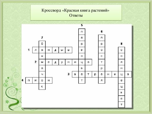 Кроссворд «Красная книга растений»  Ответы
