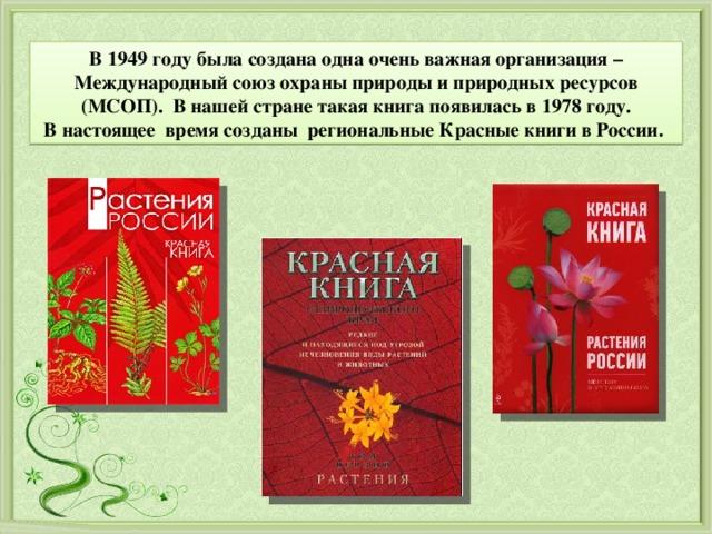 В 1949 году была создана одна очень важная организация – Международный союз охраны природы и природных ресурсов (МСОП). В нашей стране такая книга появилась в 1978 году. В настоящеевремя созданы региональные Красные книги в России.