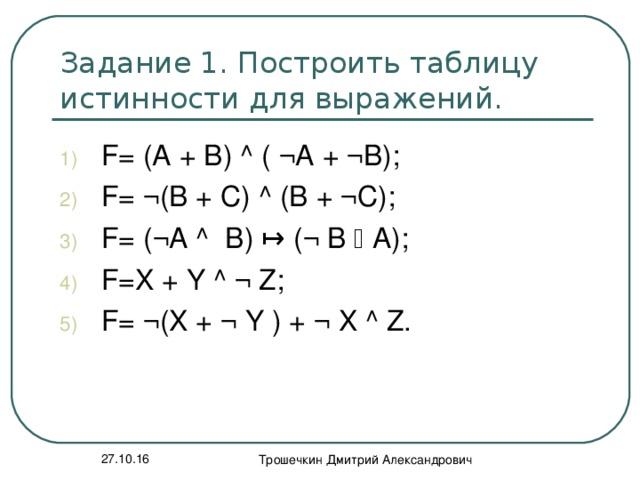 Задание 1. Построить таблицу истинности для выражений. F= (A + B) ^ ( ¬A + ¬B); F= ¬ (В + С) ^ ( В + ¬С); F= ( ¬ А ^ В)   ( ¬  В  А); F=X + Y ^ ¬ Z; F= ¬ (X + ¬ Y ) + ¬ X ^ Z. 27.10.16 Трошечкин Дмитрий Александрович