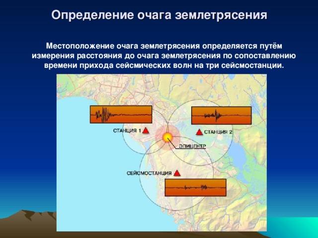 Определение очага землетрясения Местоположение очага землетрясения определяется путём измерения расстояния до очага землетрясения по сопоставлению времени прихода сейсмических волн на три сейсмостанции.