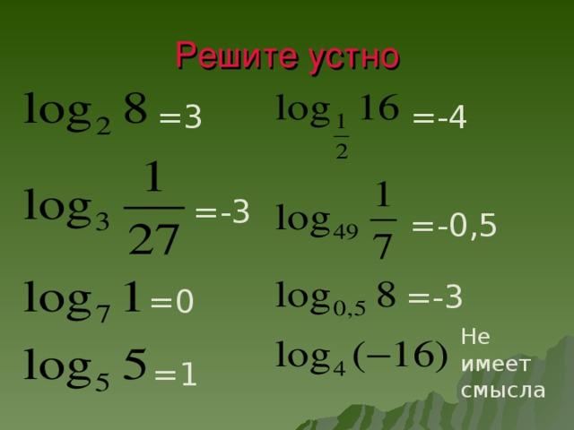 Решите устно =3 =-4 =-3 =-0,5 =-3 =0 Не  имеет смысла =1