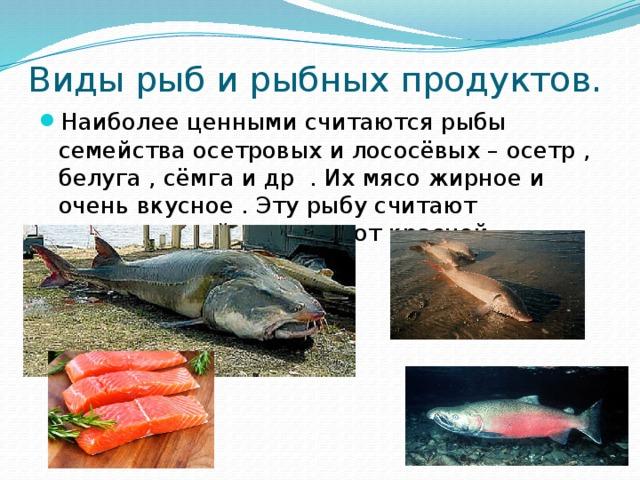 Виды рыб и рыбных продуктов.