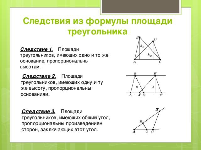Следствия из формулы площади треугольника Следствие 1. Площади треугольников, имеющих одно и то же основание, пропорциональны высотам.  Следствие 2. Площади треугольников, имеющих одну и ту же высоту, пропорциональны основаниям. Следствие 3. Площади треугольников, имеющих общий угол, пропорциональны произведениям сторон, заключающих этот угол.