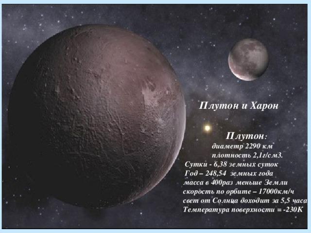 Плутон и Харон      Плутон :  диаметр 2290 км  плотность 2,1г/см3.  Сутки - 6,38 земных суток  Год – 248,54 земных года  масса в 400раз меньше Земли  скорость по орбите – 17000км/ч  свет от Солнца доходит за 5,5 часа  Температура поверхности = -230К