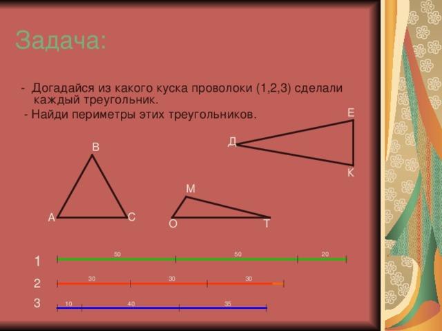 Задача:  - Догадайся из какого куска проволоки (1,2,3) сделали каждый треугольник.  - Найди периметры этих треугольников. Е Д В К М С А Т О 20 50 50 1 30 30 30 2 3 40 35 10