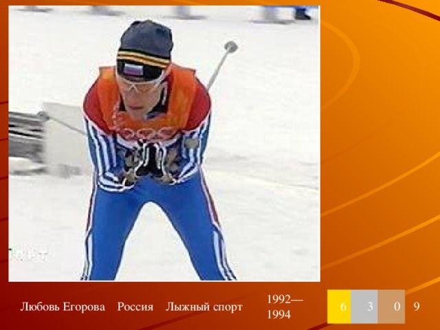 Любовь Егорова Россия Лыжный спорт 1992—1994 6 3 0 9