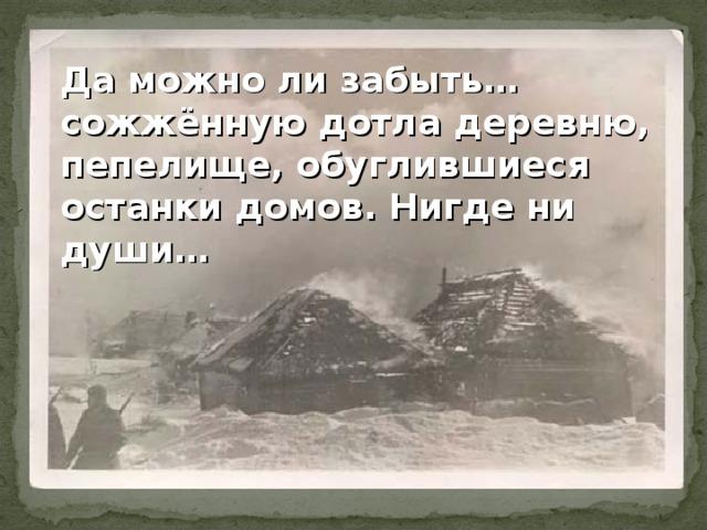 Да можно ли забыть…сожжённую дотла деревню, пепелище, обуглившиеся останки домов. Нигде ни души…