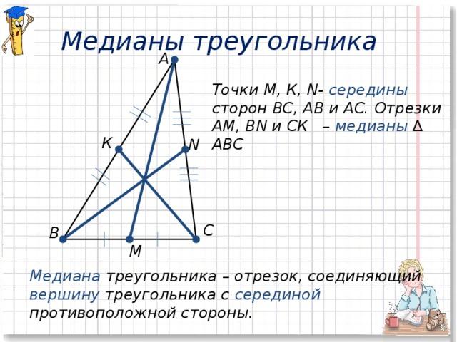 Медианы треугольника А Точки М, К, N- середины сторон ВС, АВ и АС. Отрезки АМ, ВN и СК – медианы  ∆ АВС  К N С В М Медиана треугольника – отрезок, соединяющий вершину треугольника с серединой  противоположной стороны.