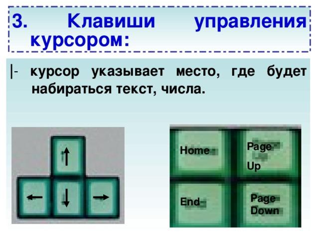 3. Клавиши управления курсором: | - курсор указывает место, где будет набираться текст, числа.  Page Up Home Page Down End