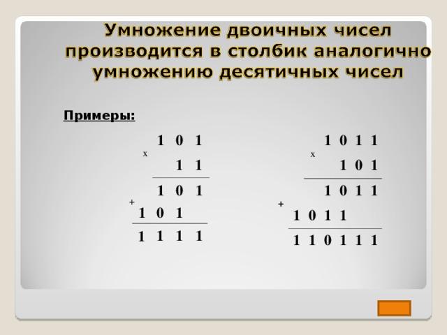 Примеры: x 1 0 1 x 1 + 1 1 0 1 1 1 1 1 0 0 0 1 1 1 1 0 1 1 1 1 1 1 1 0 1 + 0 1 1 1 1 1 1