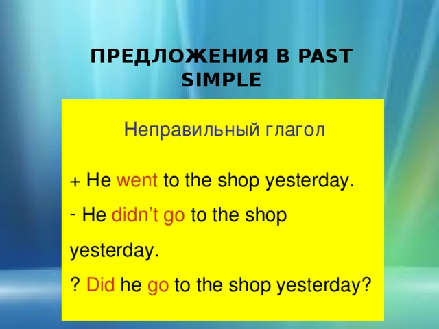 ПРЕДЛОЖЕНИЯ В PAST SIMPLE Неправильный глагол + He went to the shop yesterday.  He didn't go to the shop yesterday. ? Did he go to the shop yesterday?