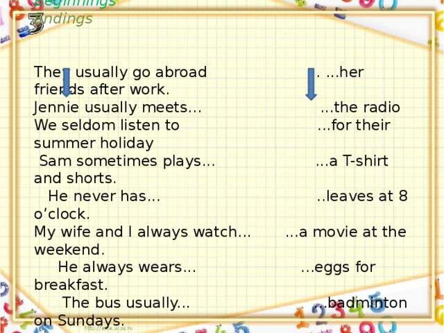 Pick up Two - Adverbs of Frequency  Matching game. Beginnings  Endings  They usually go abroad . ...her friends after work. Jennie usually meets... ...the radio We seldom listen to ...for their summer holiday  Sam sometimes plays... ...a T-shirt and shorts.  He never has... ..leaves at 8 o'clock. My wife and I always watch... ...a movie at the weekend.  He always wears... ...eggs for breakfast.  The bus usually... ...badminton on Sundays.