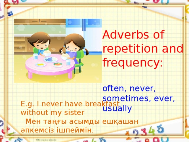 Adverbs of repetition and frequency:   often, never, sometimes, ever, usually E.g. I never have breakfast without my sister  Мен таңғы асымды ешқашан әпкемсіз ішпеймін.