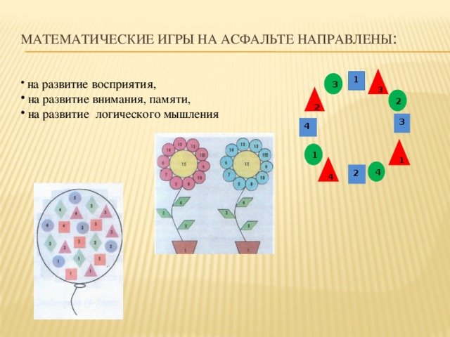 Математические игры на асфальте НАПРАВЛЕНЫ : 3 1  на развитие восприятия,  на развитие внимания, памяти,  на развитие логического мышления 3 2 2 3 4 1 1 4 4 2