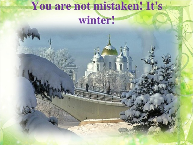 You are not mistaken! It's winter!