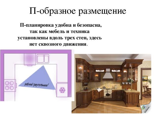 Угловое расположение Подходит почти для всех помещений, создает удобный рабочий треугольник. Обеденный стол легко размещается без ущерба для зоны прохода.