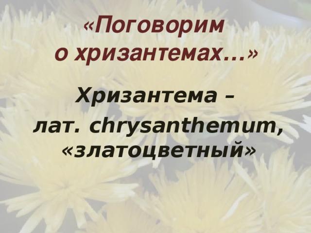 «Поговорим  о хризантемах…» Хризантема – лат. сhrysanthemum, «златоцветный»