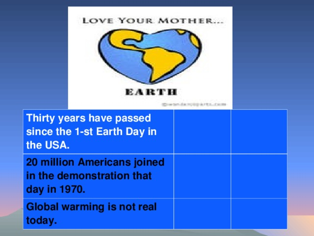 Thirty years have passed since the 1-st Earth Day in the USA. 20 million Americans joined in the demonstration that day in 1970. Global warming is not real today.