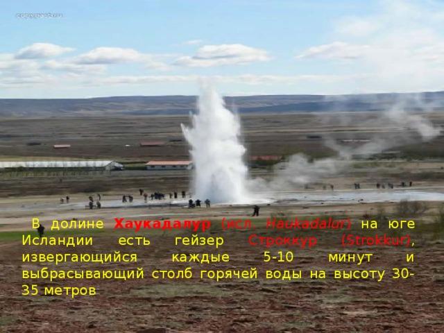 В долине Хаукадалур (исл. Haukadalur ) на юге Исландии  есть гейзер Cтроккур (Strokkur) , извергающийся каждые 5-10 минут и выбрасывающий столб горячей воды на высоту 30-35 метров