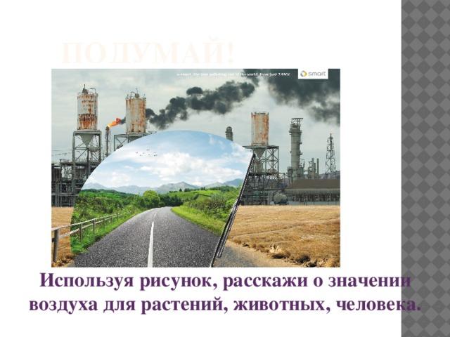 Подумай! Используя рисунок, расскажи о значении воздуха для растений, животных, человека.