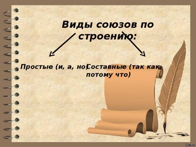 Виды союзов по строению: Простые (и, а, но) Составные (так как, потому что)
