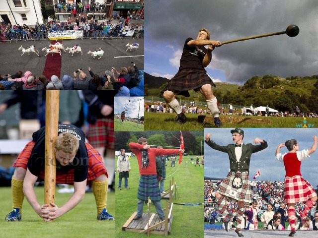 Other events are typically Scottish : tossing the caber, throwing the hammer, putting the stone, bagpipes and dancing traditional Highland dances.
