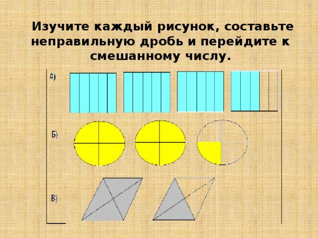Изучите каждый рисунок, составьте неправильную дробь и перейдите к смешанному числу.