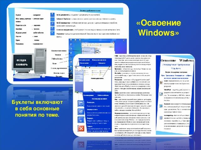 «Освоение Windows » Буклеты включают в себя основные понятия по теме.