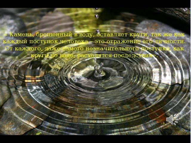 « Камень, брошенный в воду, оставляет круги, так же как каждый поступок человека – это отражение его личности. От каждого, даже самого незначительного поступка, как круги по воде, расходятся последствия».