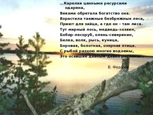 … Карелия ценными ресурсами одарена, Веками обретала богатство она. Взрастила таежные безбрежные леса, Приют для зайца, а где он – там лиса. Тут мирный лось, медведь-хозяин, Бобер-лесоруб, олень-северянин, Белка, волк, рысь, куница, Боровая, болотная, озерная птица. С рыбой разною многие водоемы, Это осевшие давным-давно разломы…   В. Федоров