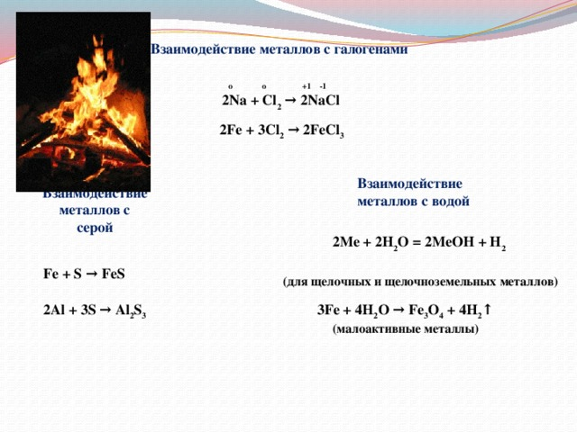 Взаимодействие металлов с галогенами  o o +1 -1 2Na + Cl 2 → 2NaCl 2Fe + 3Cl 2 → 2FeCl 3 Взаимодействие металлов с водой Взаимодействие металлов с серой 2Me + 2H 2 O = 2MeOH + H 2   (для щелочных и щелочноземельных металлов) Fe + S → FeS 2Al + 3S → Al 2 S 3 3Fe + 4H 2 O → Fe 3 O 4 + 4H 2 ↑ (малоактивные металлы)