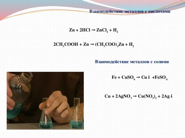 Взаимодействие металлов с кислотами Zn + 2HCl → ZnCl 2 + H 2 2CH 3 COOH + Zn → (CH 3 COO) 2 Zn + H 2 Взаимодействие металлов с солями Fe + CuSO 4 → Cu↓ +FeSO 4 Cu + 2AgNO 3 → Cu(NO 3 ) 2 + 2Ag↓