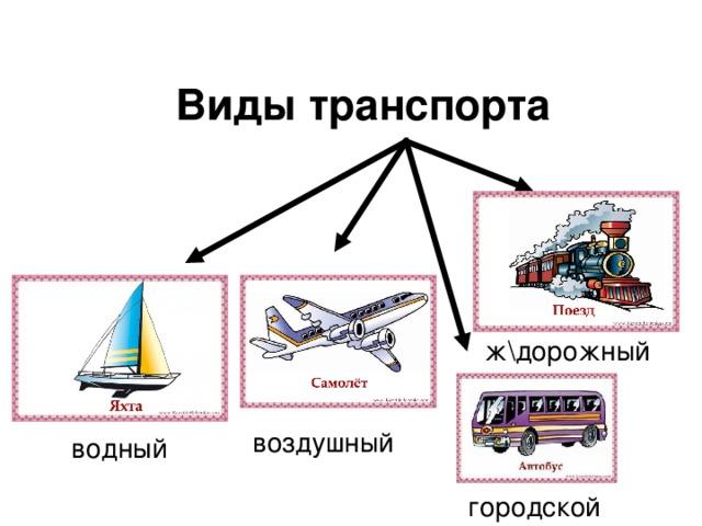 Виды транспорта ж\дорожный воздушный водный городской