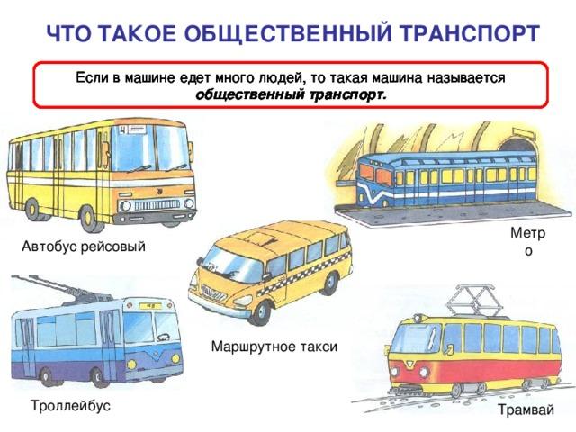 ЧТО ТАКОЕ ОБЩЕСТВЕННЫЙ ТРАНСПОРТ Если в машине едет много людей, то такая машина называется общественный транспорт. Если в машине едет много людей, то такая машина называется общественный транспорт. Если в машине едет много людей, то такая машина называется общественный транспорт. Если в машине едет много людей, то такая машина называется общественный транспорт. Метро Автобус рейсовый Маршрутное такси Троллейбус Трамвай