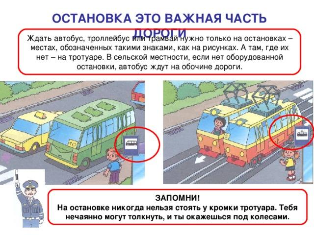 ОСТАНОВКА ЭТО ВАЖНАЯ ЧАСТЬ ДОРОГИ Ждать автобус, троллейбус или трамвай нужно только на остановках – местах, обозначенных такими знаками, как на рисунках. А там, где их нет – на тротуаре. В сельской местности, если нет оборудованной остановки, автобус ждут на обочине дороги. ЗАПОМНИ! На остановке никогда нельзя стоять у кромки тротуара. Тебя нечаянно могут толкнуть, и ты окажешься под колесами.