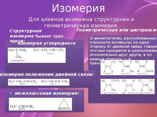 Изомерия Для алкенов возможна структурная и геометрическая изомерия. Геометрическая или цистрансизомерия.  Структурная изомерия  бывает трех видов: О заместителях, расположенных в плоскости молекулы по одну сторону от двойной связи, говорят, что они находятся в цисположении относительно друг друга, а по разные стороны — в трансположении.          изомерия углеродного скелета:     изомерия положения двойной связи:   межклассовая изомерия: